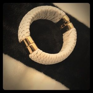 Woven White Leather Cuff Bracelet